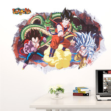 Cartoon Sun Goku Kakarotto Wall Stickers For Kids Room Home Decoration Diy Dragon Ball Anime Mural Art 3d Broken Hole Decal