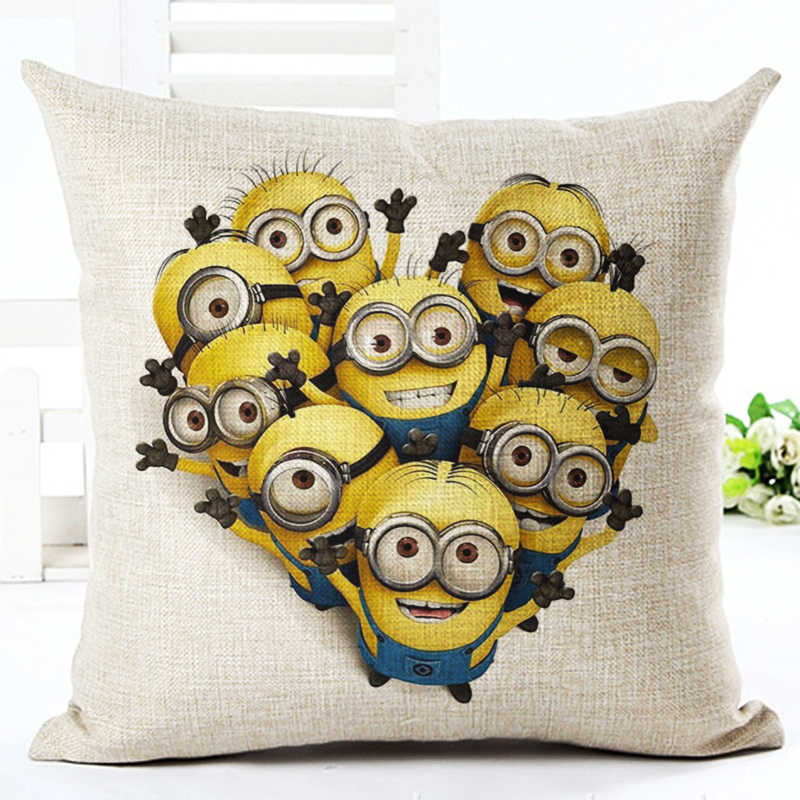 2016 High Quality New Arrival Home Decorative Cartoon Style Cotton Linen cushion Minions Print Throw Pillow Square Cojines