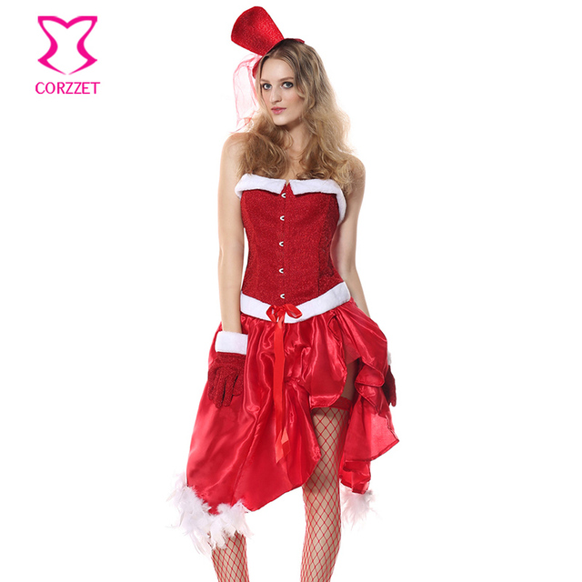 1a738d3ee00 Corzzet Red Corset And Satin Dress Women Christmas Costumes Sexy Red  Christmas Dress Santa Claus Costumes for Adults Uniform