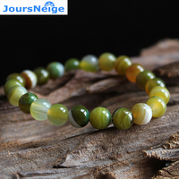 JoursNeige Natural Yellow Green Stone Bracelets 8mm Beads for Men Women Single lap Crystal Jewelry Accessories