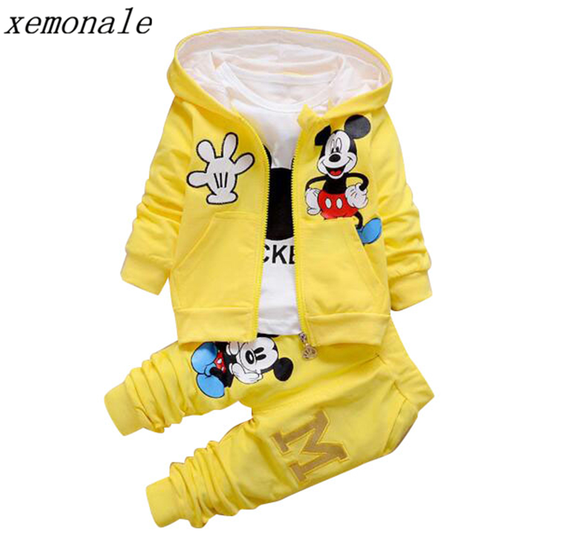 2018 New Children Girls Boys Fashion Clothing Sets Autumn Winter 3 Piece Suit Hooded Coat Clothes Baby Cotton Brand Tracksuits 2016 new winter spring autumn girls kids boys bunnies patch cotton sweater comfortable cute baby clothes children clothing