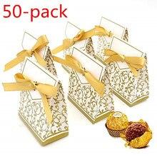 Candy Box, 50 PCS Gift Box Cake Bag Ribbon Wedding Party Decoration Easter Family Banquet gold Carton