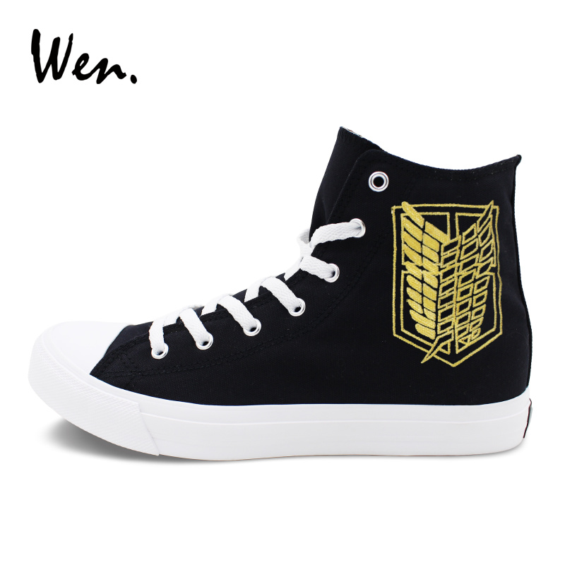 Wen Black Hi Tops Shoes Canvas Sneakers Women Design Anime Attack on Titan Logo Hand Painted Shoes Men Athletic Sneakers