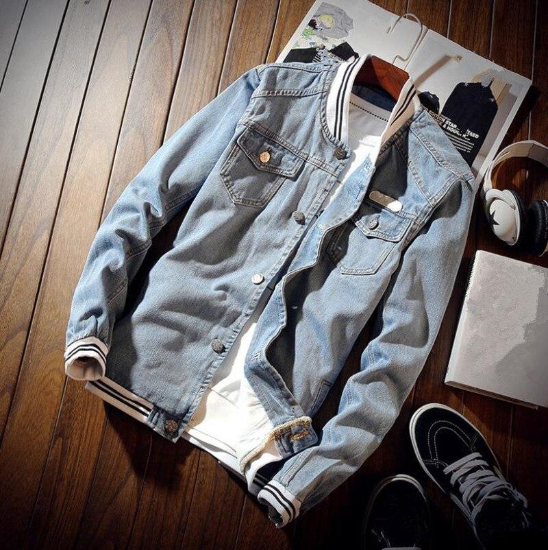 Spring Men s Denim Jacket Casual Solid Color Cotton Jacket font b Slim b font Top