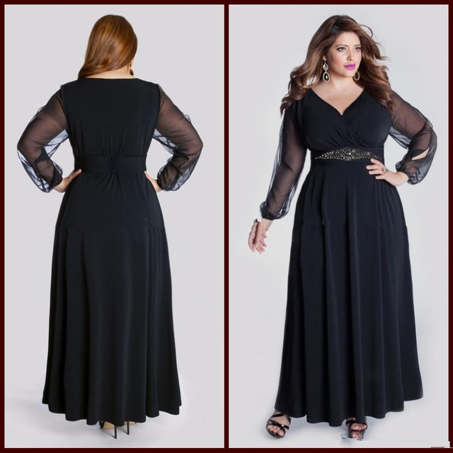 New Long Sleeve V Neck Beads Chiffon Black Plus Size Evening Dress