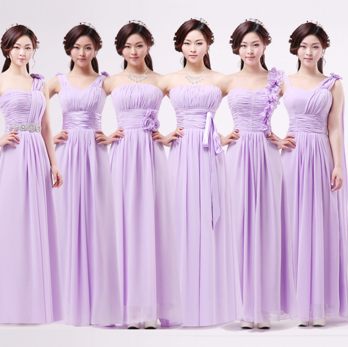 US $34.3 |lilac lavender plus size womens long chiffon ruched straps  sweetheart bridesmaid dresses floor length purple gown dress B2434-in  Bridesmaid ...