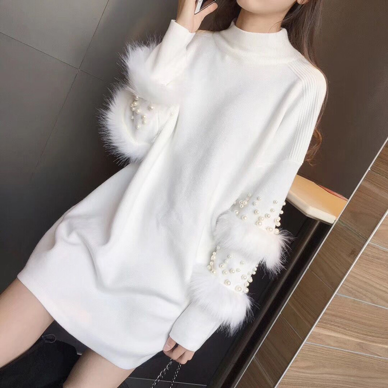 NORMOV 2019 Women Autumn Winter Knitted Pullovers Sweater Female Long Sleeve Wool Faux Rabbits Fur Beaded Sweater Dress