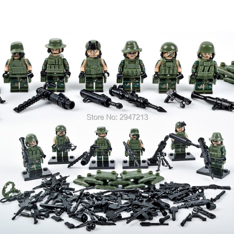 6 PZ hot compatible LegoINGlys mini Military figures with weapons guns Jungle Commando Building blocks Toys for children gift 12pcs set children kids toys gift mini figures toys little pet animal cat dog lps action figures