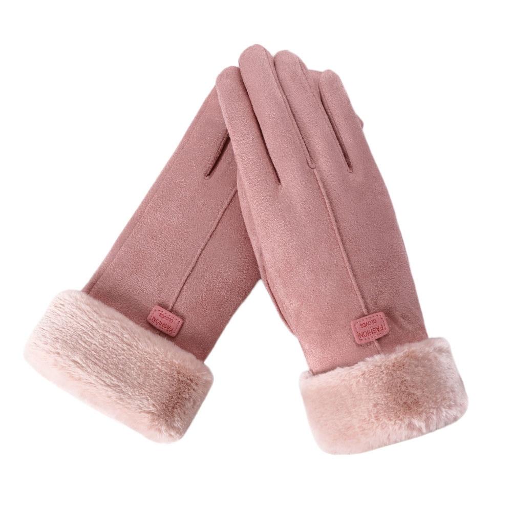Classic Luvas De Inverno Womens Fashion Winter Outdoor Sport Warm Gloves Mittens Eldiven Solid Pink Guantes Femme 2018 18Nov