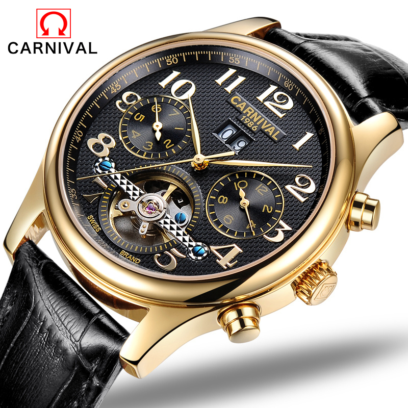 Фото Fashion Luxury Brand Carnival Men Watch Automatic Mechanical Watches Hollow Men Tourbillon Mechanical Watch With Original Box