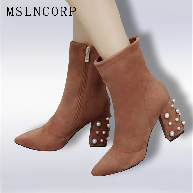 Size 34-43 Women Faux Suede Boots Sexy Fashion Pointed Toe Ankle Boots Spring Autumn Zipper Pearl High heeled Shoes Woman Pumps women faux suede side zipper sexy thin high heel thigh boots fashion pointed toe winter shoes black g