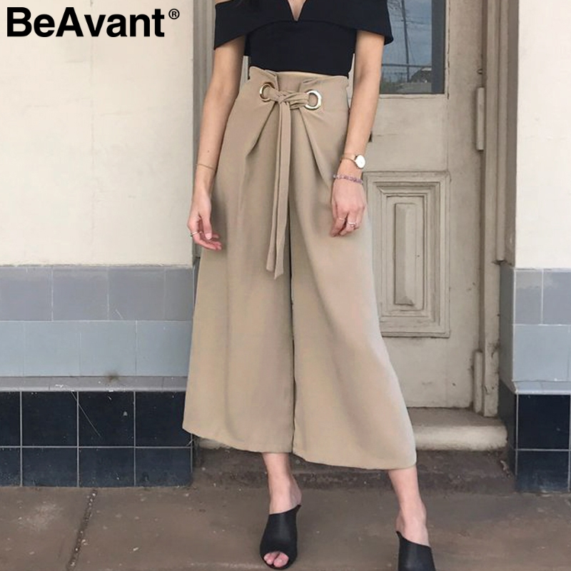 BeAvant Spring loose wide leg pants women High waist elastic summer pants trousers 2018 Office lady elegant ring tie up pants