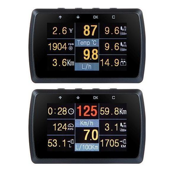 Coche OBD2 calibre con soporte de velocidad de conducción de agua, medidor de temperatura Digital de pantalla