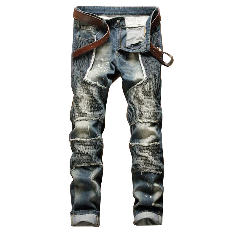 Fashion Mens Patchwork Ripped Biker Jeans Brand Clothing Slim Fit Moto Denim Joggers Pants Pleated Motorcycle Jean Trousers Male 2017 fashion patch jeans men slim straight denim jeans ripped trousers new famous brand biker jeans logo mens zipper jeans 604