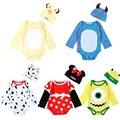 Детские комбинезоны длинный рукав хлопок мальчики девочки младенческой мультфильм Животных Минни комбинезон новорожденных детская одежда ползунки + шляпа комплект одежды
