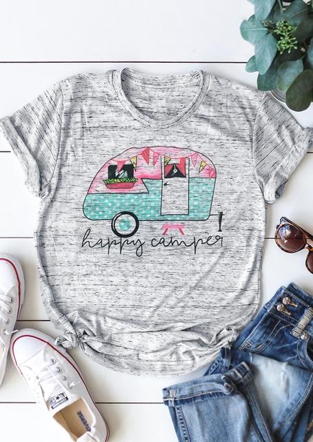 Mùa hè Phụ Nữ T-Shirt Cắm Trại Xe Buýt O-Cổ Ngắn Tay Áo T-Shirt Nữ Ngắn Tay Áo Ánh Sáng Màu Xám t áo sơ mi Giản Dị Phụ Nữ Tops Tee