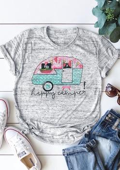 Summer Women T-Shirt Camping Bus O-Neck Short Sleeve T-Shirt Female Short Sleeve Light Grey t shirt Casual Ladies Tops Tee