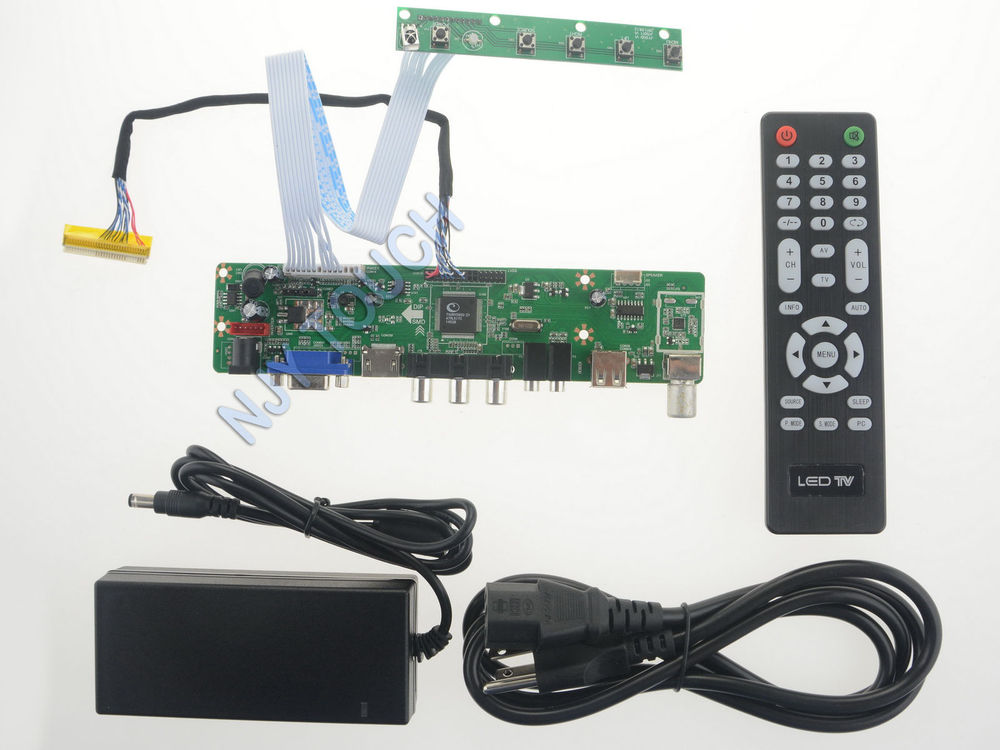 Free Shipping 190*55mm LA.MV56U.A HDMI USB AV VGA TV Universal LCD LED LVDS Controller Board 1920x1080 +12V 4A Power Adapter Kit free shipping v m70a vga lcd controller board kit for lta159b870f 15 9 inch 1280x645 2ccfl lvds 20 pins