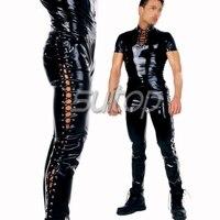 Men 's Rubber catsuit garment latex suit sets (including top + pants)