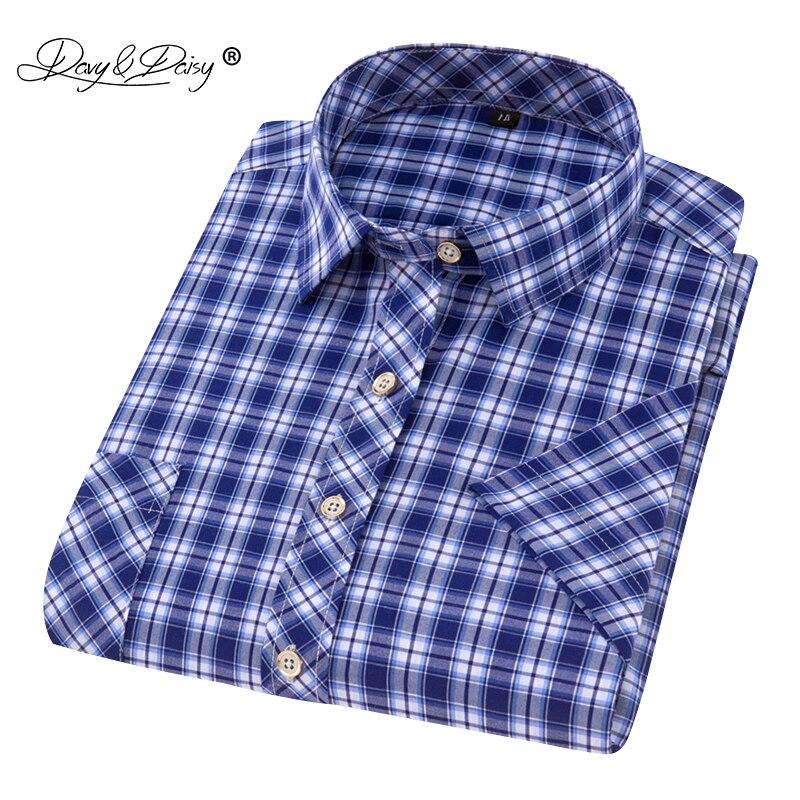 DAVYDAISY 2019 Summer Men Short Sleeve Shirts Social Slim Fit Casual Striped Plaid Shirt Men Brand Clothing High Quality DS-200