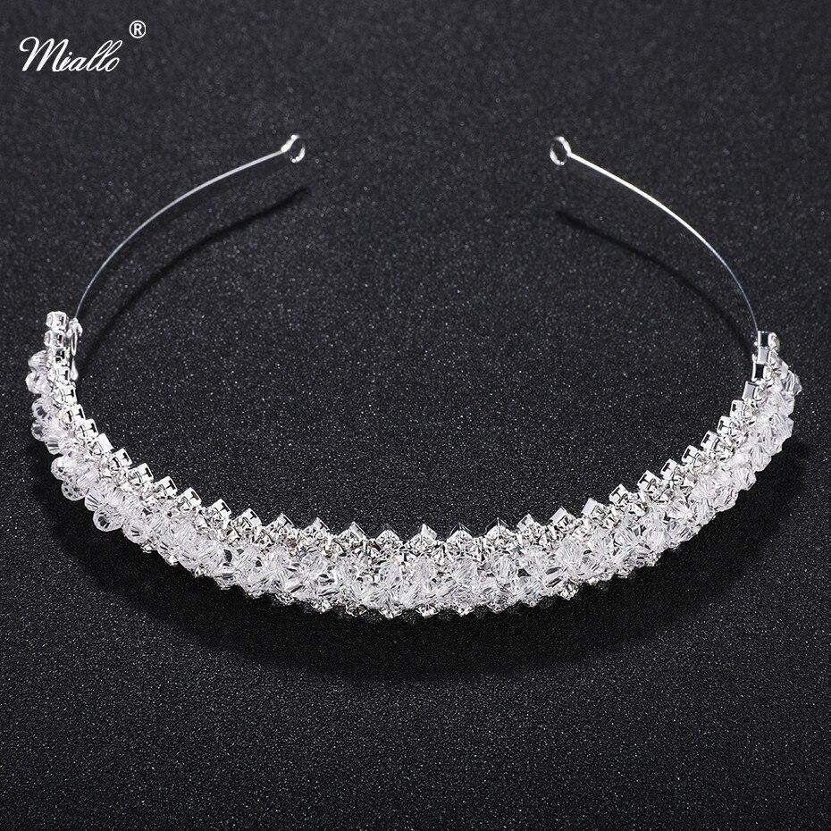 Miallo Fashion Tiara Rhinestone Crystal Crown Bridal Wedding Hair Accessories Girls Fashion Tiaras Headband Jewelry Rim for Hair