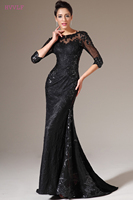 Black Evening Dresses 2018 Mermaid 3 4 Sleeves Sequins Lace See Through Women Long Evening Gown