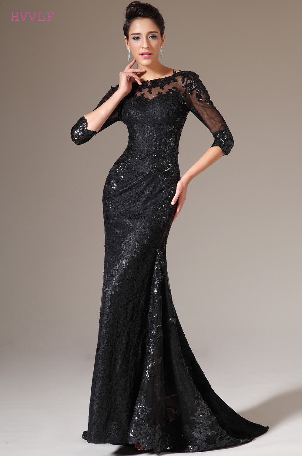 Black   Evening     Dresses   2019 Mermaid 3/4 Sleeves Sequins Lace See Through Women Long   Evening   Gown Prom   Dresses   Robe De Soiree