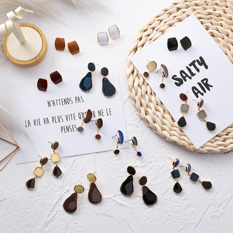 12pairs/lot fashion personality irregular circular square water drop earrings temperament simple earring woman