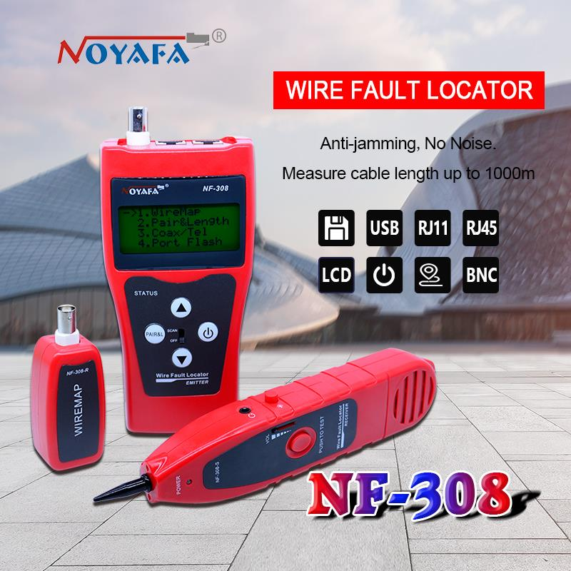 NF-308 Network monitoring cable tester LCD Wire Fault Locator LAN Network Coacial BNC USB RJ45 RJ11 red color bnc female to rj45 network testing cable black