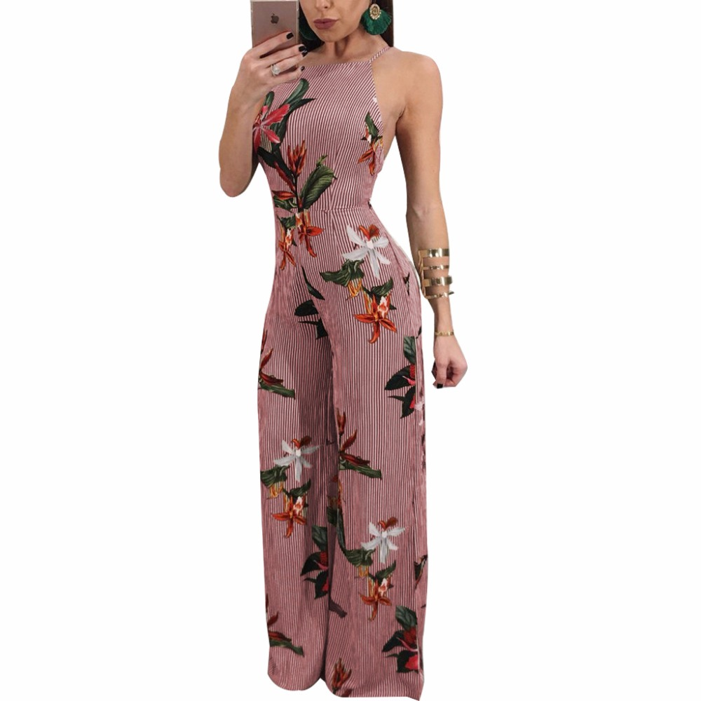 S-XXL Women sexy club party rompers 2018 Spring Suspenders Backless printed Jumpsuits loose chiffon Wide leg pants plus size 2XL