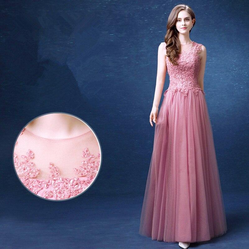 abule Long Evening Dress pink Lace Flower Birde Elegant Floor length  Sleeveless Prom Formal Dresses mermaid Robe De Soiree -in Evening Dresses  from Weddings ... 9dff399fc333