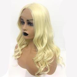 DLME высокое температура U часть 613 блондинка короткие волны волос Искусственные парики синтетический синтетические волосы на кружеве парик