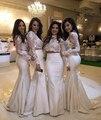 Duas Peças Vestidos Árabe Lace Alta Pescoço Até O Chão Da Dama de honra curto maid of honor vestido africano para rajada casamento vestido barato