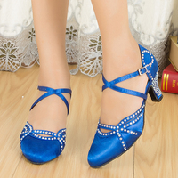 Samba Hook and Loop Ladies Shoes Women Satin Dance Legend Ballroom Shoes Close Toe Rhinestone Ballroom Dancing Shoes
