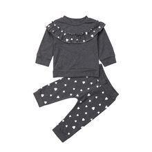 купить 2PCS Baby Girls Toddler Ruffle T-shirt Long Sleeve Tops Leggings Pants Outfits Heart Print Clothes Set 0-4T 2019 по цене 672.81 рублей