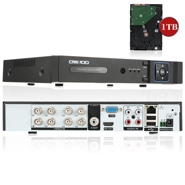 OWSOO Full 1080N AHD DVR 8CH Onvif P2P 8CH DVR Recorder With 1TB HDD Phone Control For CCTV Security Camera Surveillance System