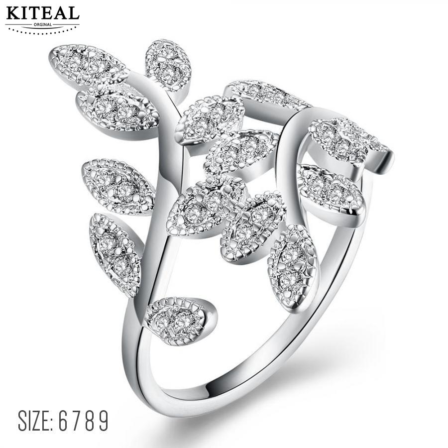 KITEAL Fashion jewellery charms Silver/rose Gold color White size 6 7 8 9 female engagement ring tree leaf anel masculino diy