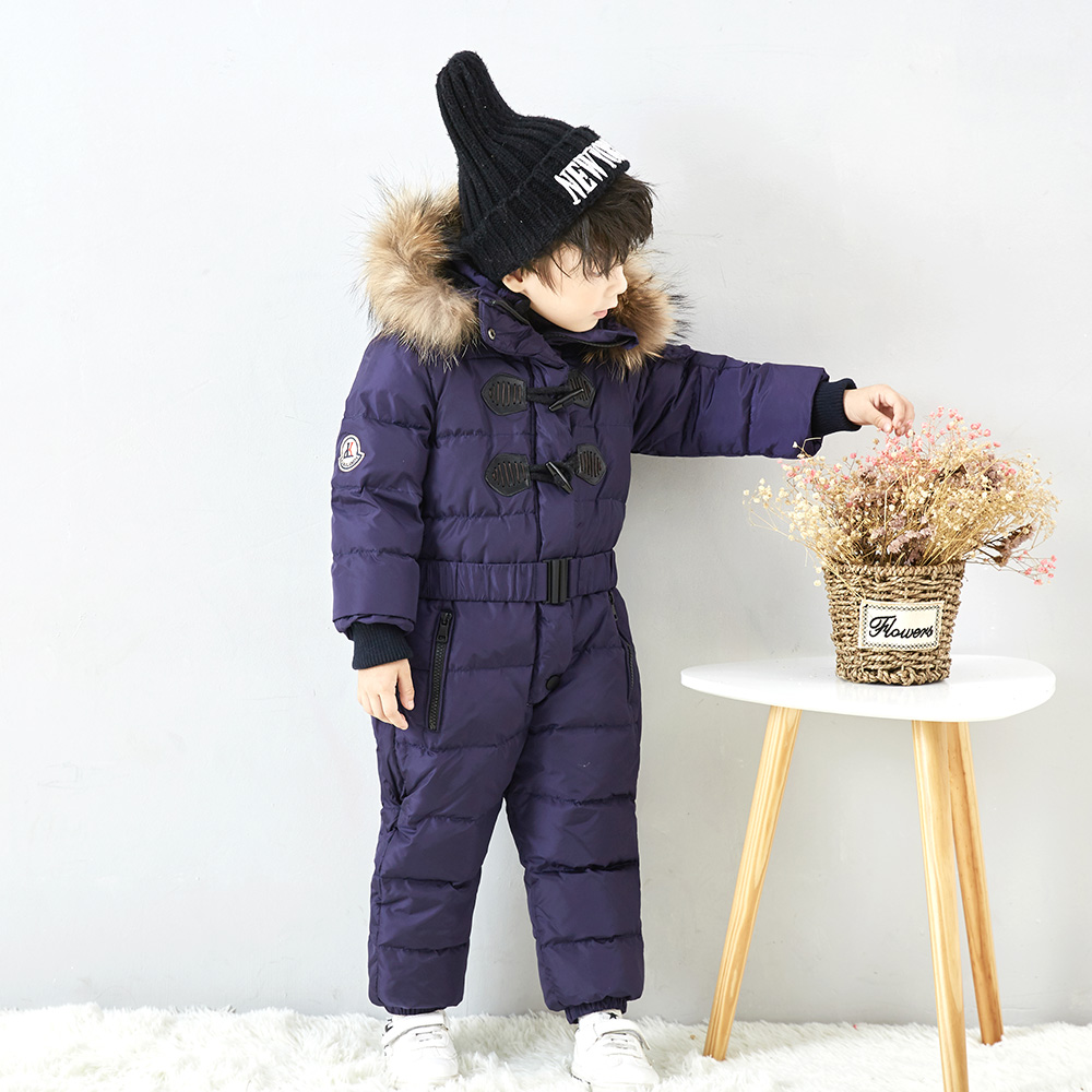 все цены на Children's outdoor ski wear boys and girls long coat down baby down jacket one Russian winter children out out waterproof