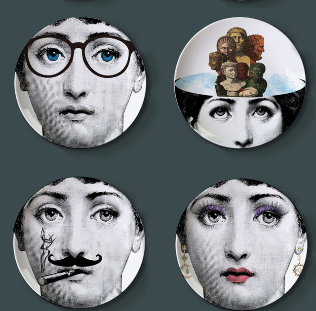 Fashion style Italy designer Fornasetti Decorative hanging Plates Lina Cavalieri face pattern dish ceramic beauty craft  sc 1 st  AliExpress.com & Fashion style Italy designer Fornasetti Decorative hanging Plates ...