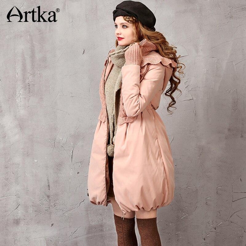 Artka зима Для женщин пуховик вязаный пэчворк пуховик Для женщин Длинная парка розовый пуховое пальто с капюшоном Теплая парка ZK16251D