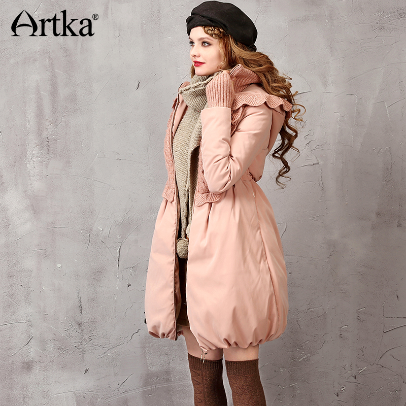 Artka Winter Womens Down Jacket Knitted Patchwork Down Coat Womens Long Parka Pink Duck Down Coat Hooded Warm Parka ZK16251D