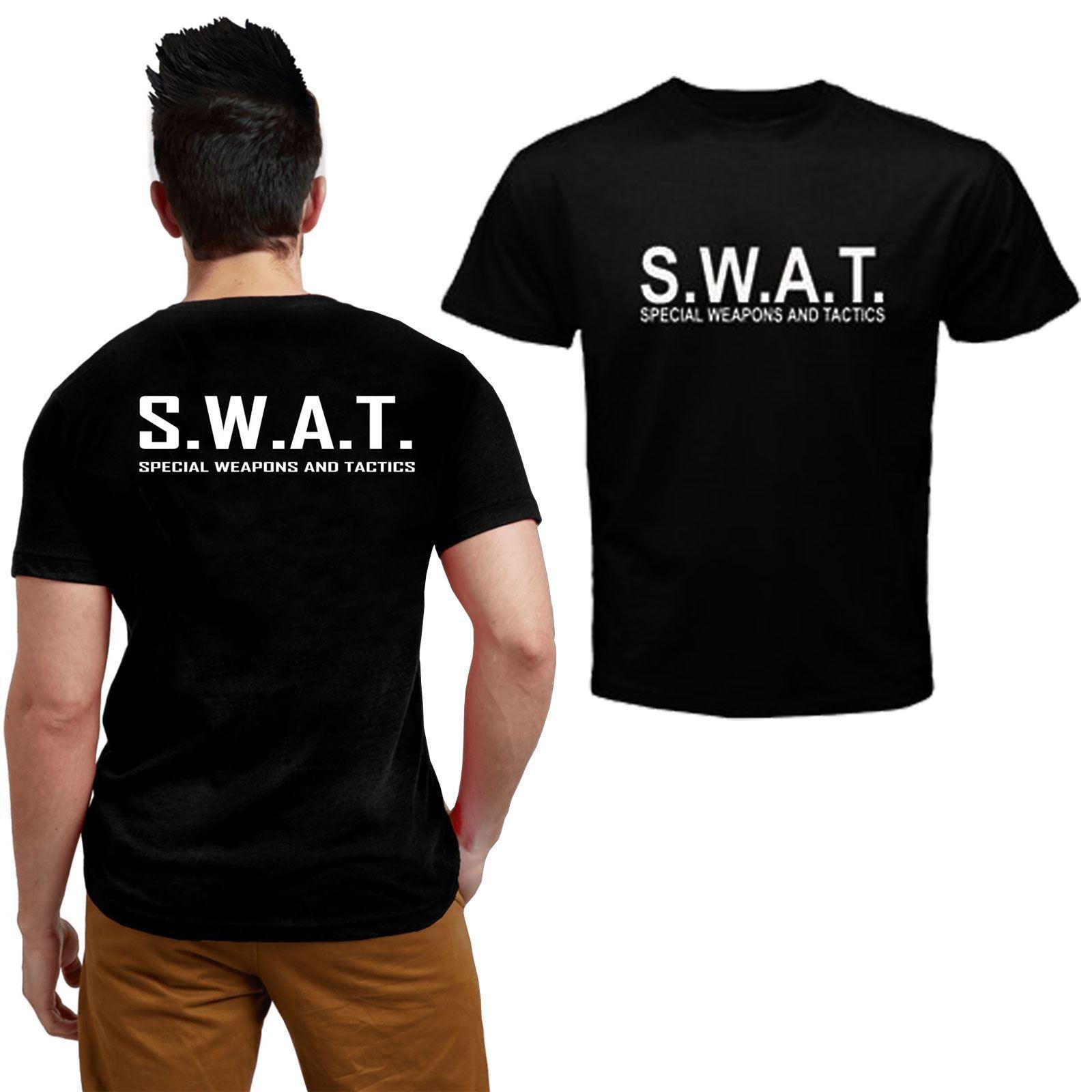 MENS BOYS SWAT T-SHIRTS POLICE MILITARY COPS WEAPONS /& TACTICS COMBAT TOPS S-XXL
