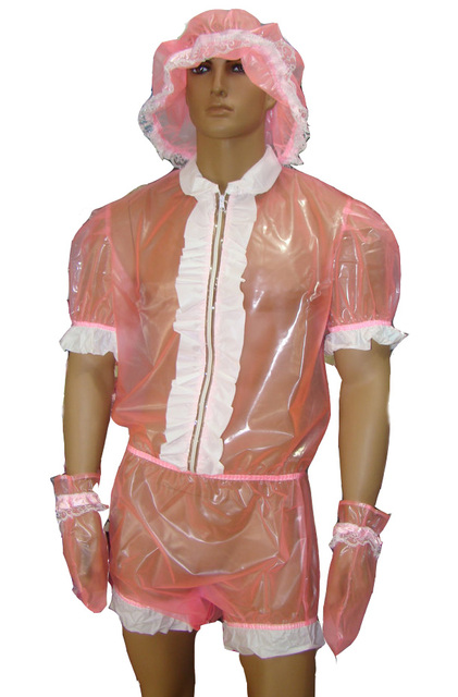 ABDL Adult Baby PVC Snap Through Crotch Romper With White PVC Frills P002-5