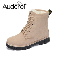 Audorci Fashion Warm Snow Boots 2018 Heels Winter Boots Women Ankle Boots Women Shoes