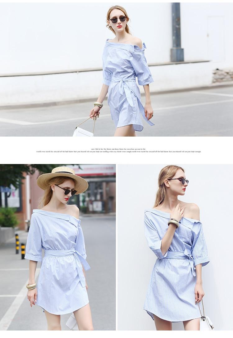 2017Fashion one shoulder Blue striped women shirt dress Sexy side split Elegant half sleeve waistband Casual beach dresses 3
