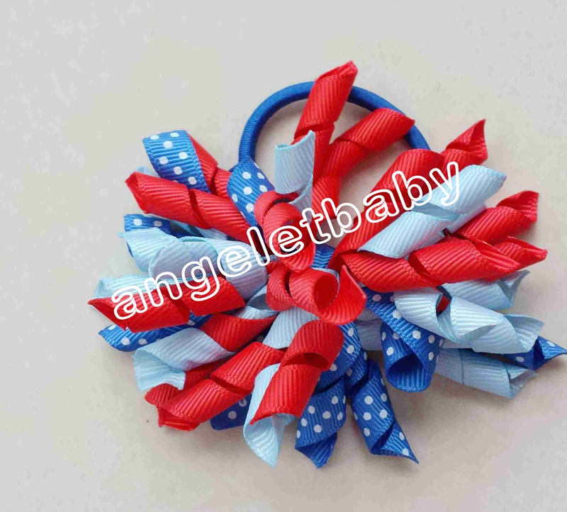 "Handmade 3"" White\ Light Blue Saddle Stitch Dot Korker Hair Bow"