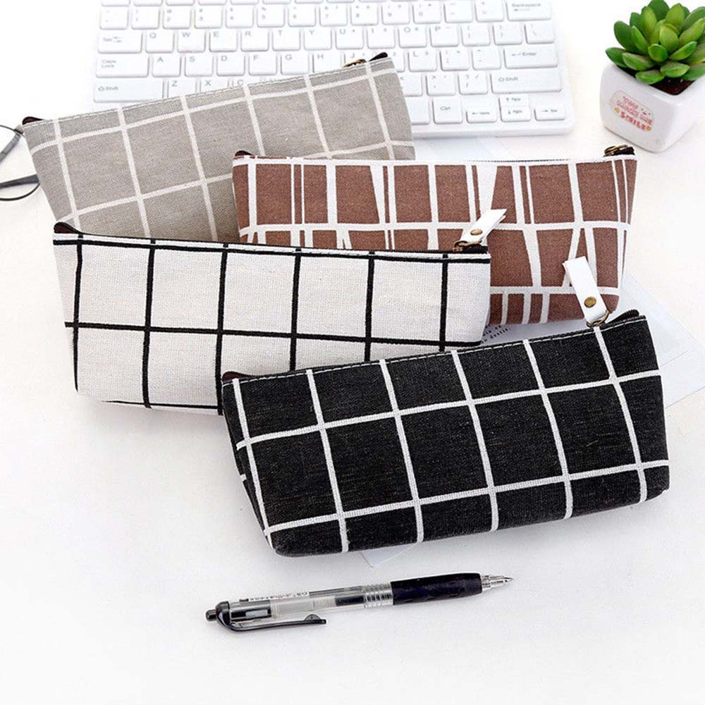 Canvas Pencil Case School Pencil Bag Simple Striped Grid Pencilcase Office Supplies Pen Bag Pencils Writing Students Stationery