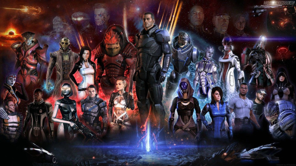 Home Decor Mass Effect 3 4 Game Space War-Silk Art Poster Wall Sticker Decoration Gift image