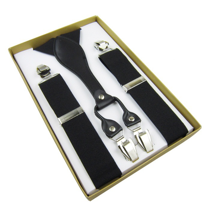 2019 Best Mens 3.5 Cm  Width Adjustable Four Clip-on Y-Back Solid Black Elastic Suspenders Braces For Father/Grandfather Gifts