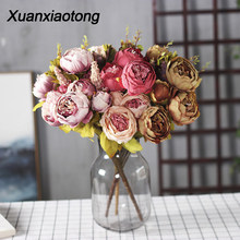 Xuanxiaotong 11/13 Head Red Peony Artificial Flower Bouquet Blue White Pink Yellow Green Peonies Fake Flowers Heme Decoration(China)